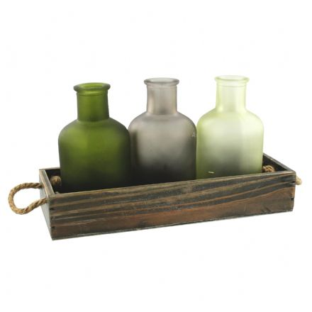 Coloured Glass Bottles in Wooden Tray